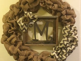 Front Door Wreath with Barn Wood Frame Initial by GBTButtonsNBows