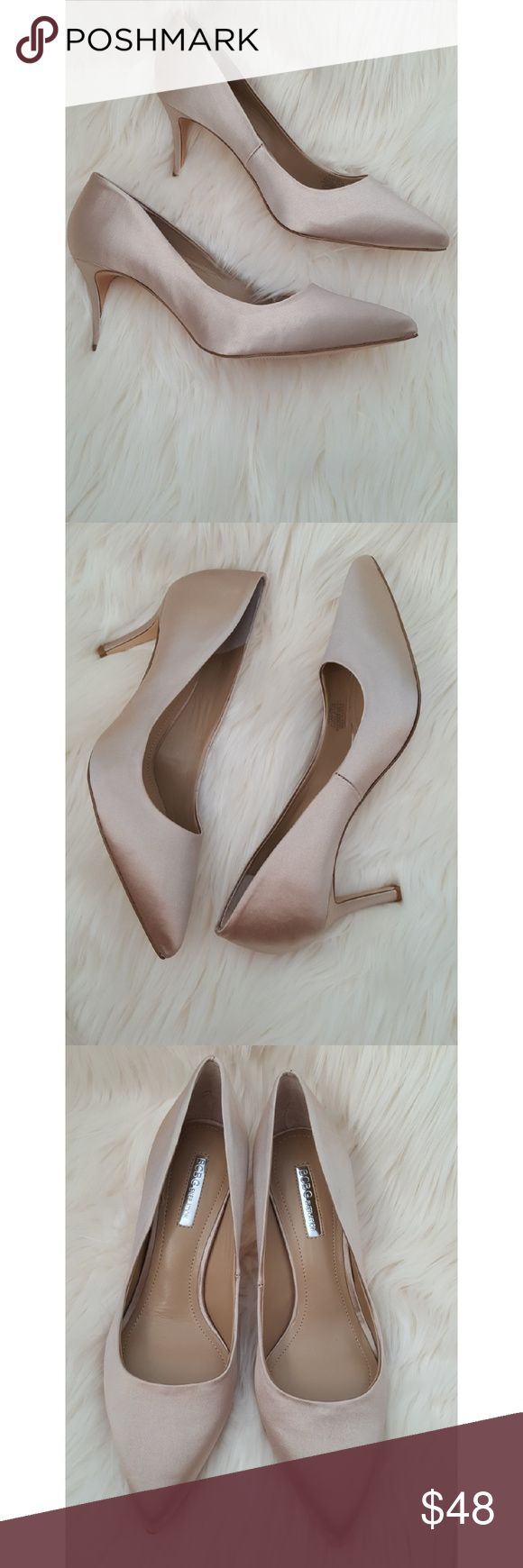 """BCBG GENERATION Matte Satin Pumps Heels BCBG GENERATION Matte Satin Pumps Heels   Color: Champagne Size: 7.5M Heel height: Approx. 3""""  Item is New with Box. Please look through all photos before purchasing item.   Thank you for looking check out my other items!! BCBGeneration Shoes Heels"""
