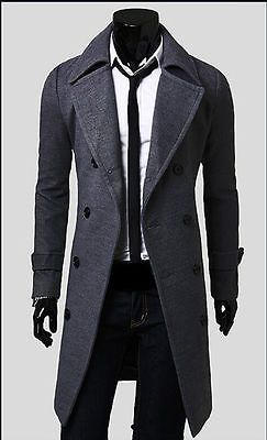 Hot Para Hombre Gabardina De Invierno Para Hombre Larga chaqueta de doble botonadura cálido abrigo