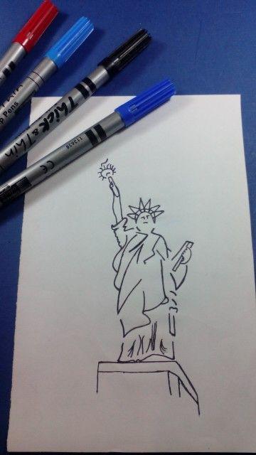 Desenho da Estátua da liberdade ...!!! Visite nos no YOUTUBE - Desenho-Loko