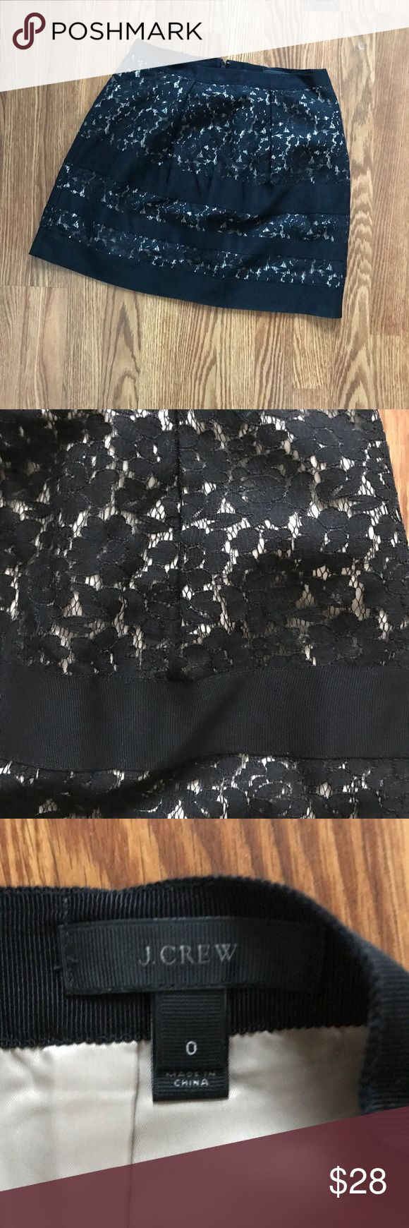 J. Crew Black Lace Mini Skirt NWOT! Fully lined Black lace J. Crew Skirt. Appx 16 1/2 inches lying flat. Classy and wonderful for church, work, or play! Nude undertones. Worn with chambray top, white button down, and various sweaters. Feminine! J. Crew Skirts Mini