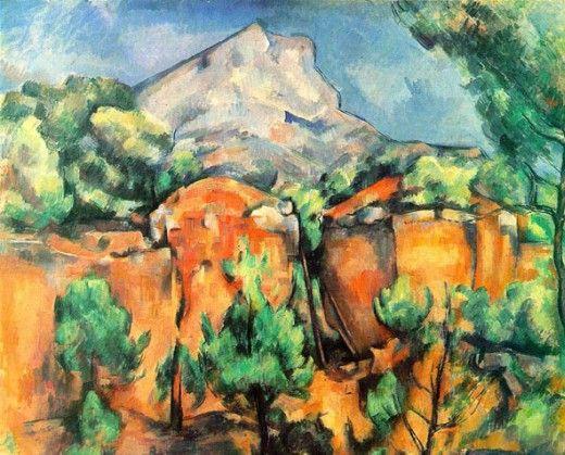 Cezanne, Le Mont Sainte -Victoire vu de la carrière Bibemus , 1899 http://www.quarryscapes.no/images/Quarry_of_the_month/Bibemus_Cezanne.jpg: Paul Cézanne, Paul Cezanne, 1897, Art, Bibemus Quarry, Painting