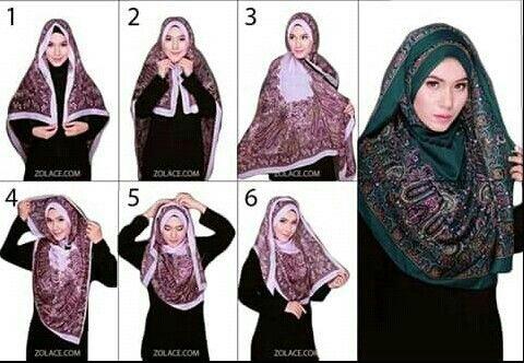 Cara memakai tudung bawal bidang 60 | Hijab Tutorials ...