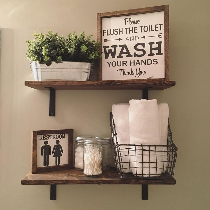 open shelves farmhouse decor fixer upper style wood signs - Half Bath Decor
