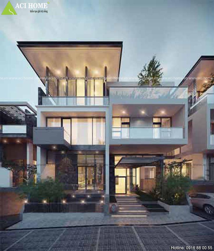 Hình ảnh biệt thự hiện đại 3 tầng tại Sơn Tây là hình mẫu biệt thự hiện đại điển hình mà Good Hope dành cho khách hàng c�