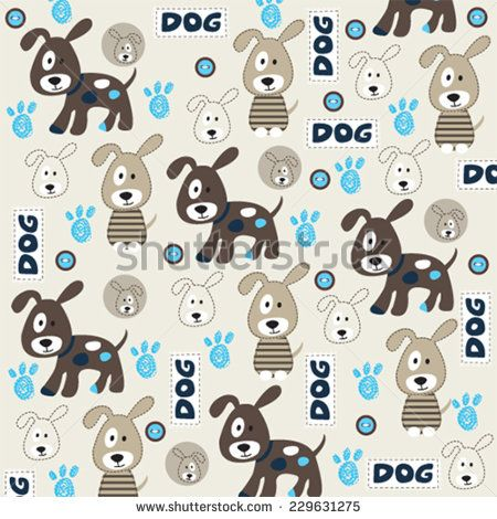 cute childish pattern with dog and paw vector illustration - stock vector