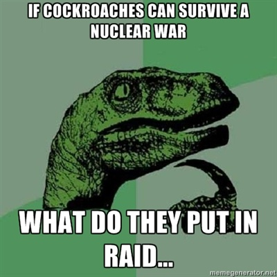 Philosoraptor - If cockroaches can survive a nuclear war what do they put in raid?: Giggle, Quote, Funny Stuff, Even, Funnies, Humor, Things