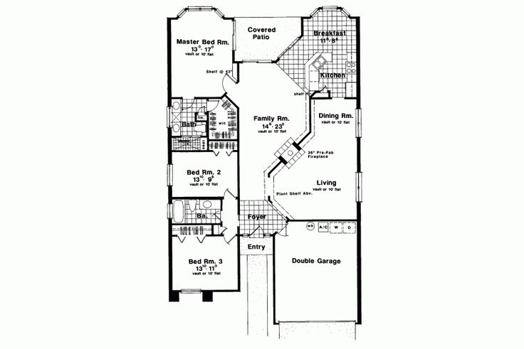 Long narrow ranch homepw13126 main level floor plans for Long ranch house plans
