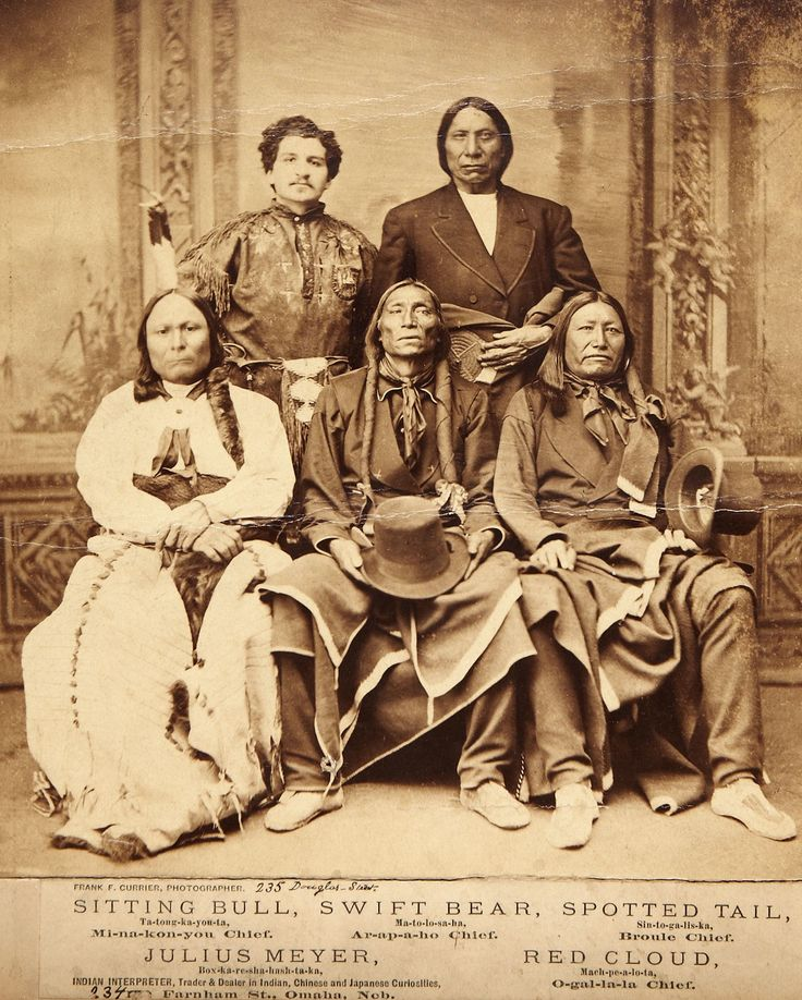 Red Cloud (Oglala Sioux), Sitting Bull (actually Hunkpapa, not Miniconjou Sioux), Swift Bear (Arapaho), and Spotted Tail (Brule Sioux)... and Julius Meyer.  Taken by Frank F. Currier, Omaha.  Indian_Chiefs_1875.jpg (1512×1887)