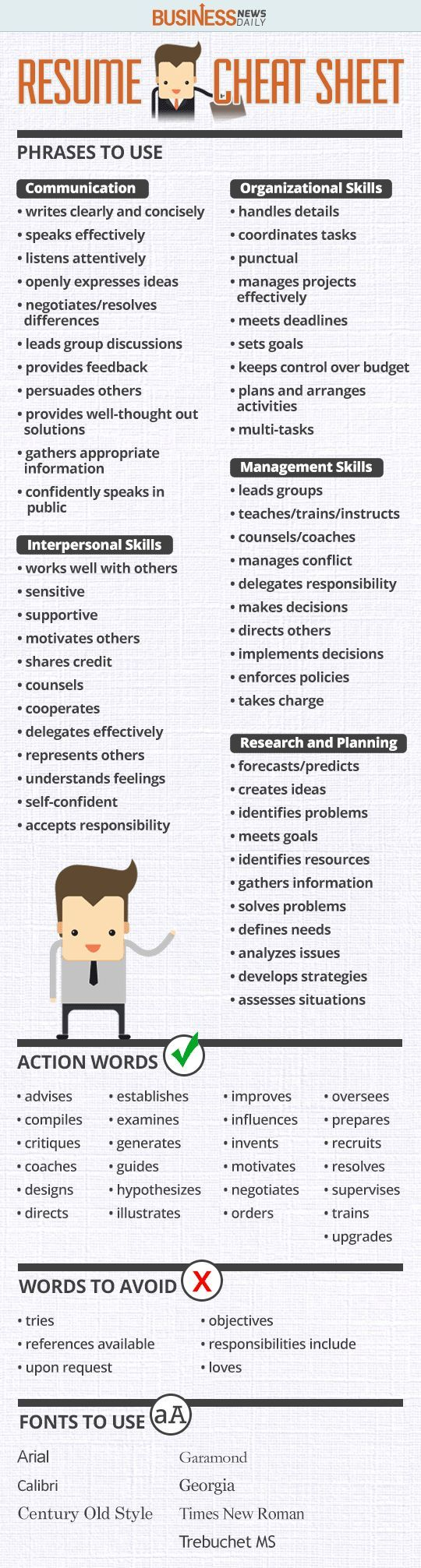 Resume Cheat Sheet for any of my buddies who may need it. #infographic