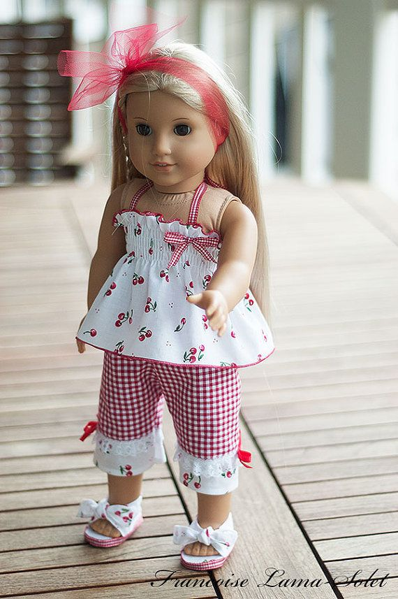 """Reserved for  Debora American Girl doll clothes 18"""" doll 4 pieces outfit: Top pants headband and shoes - Le Temps des Cerises"""
