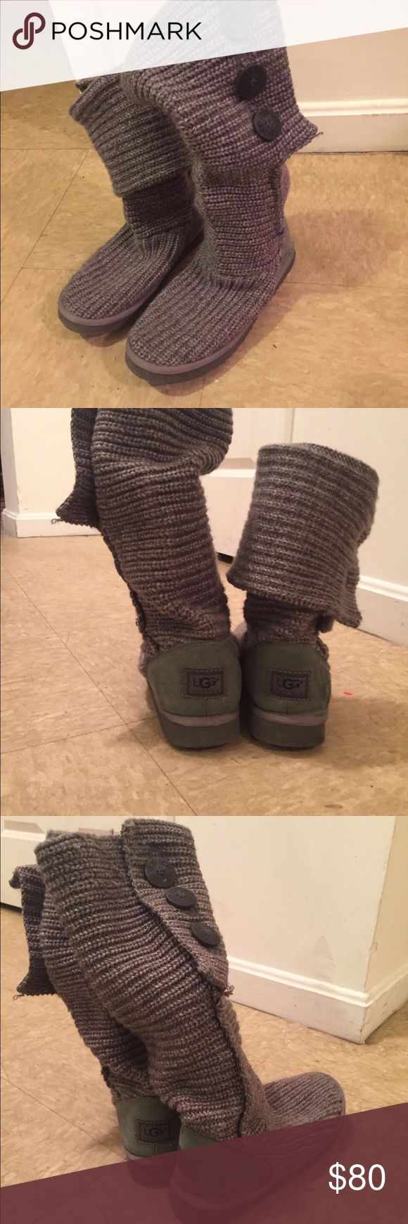 Tall knit grey cardy UGG boots size 8 Lightly worn knit UGGS. Price negotiable UGG Shoes Winter & Rain Boots