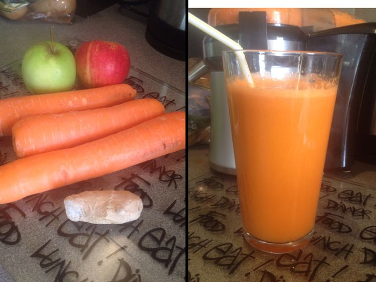 "Day 1 breakfast juice: 3 large carrots, 2 apples and 1"" ginger... Tastes like apple juice!"