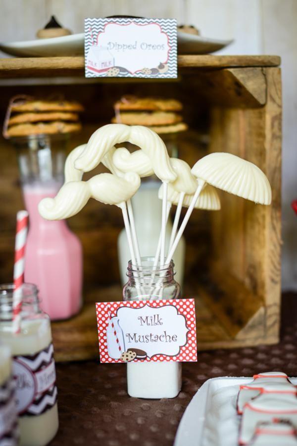Little Man Theme : MILK MUSTACHES  Milk & Cookies Boy Girl 2nd Birthday Party Planning Ideas