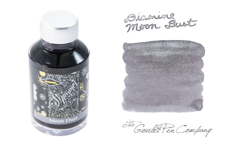 Diamine Moon Dust -- grey ink with silver sparkles. Really the closest thing to writing with pure sparkly silver fountain pen ink.