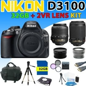 Nikon D3100 D-3100 Digital SLR Camera w/ Nikon 18-55mm + 55-200mm Vr Nikkor Lens + 3 Extra Lens, 32gb Sdhc Memory, Reader, Aluminum Tripod, Deluxe Camera Case, Hdmi Cable and More (32gb 5lens Pro Shooter Kit) $849.99