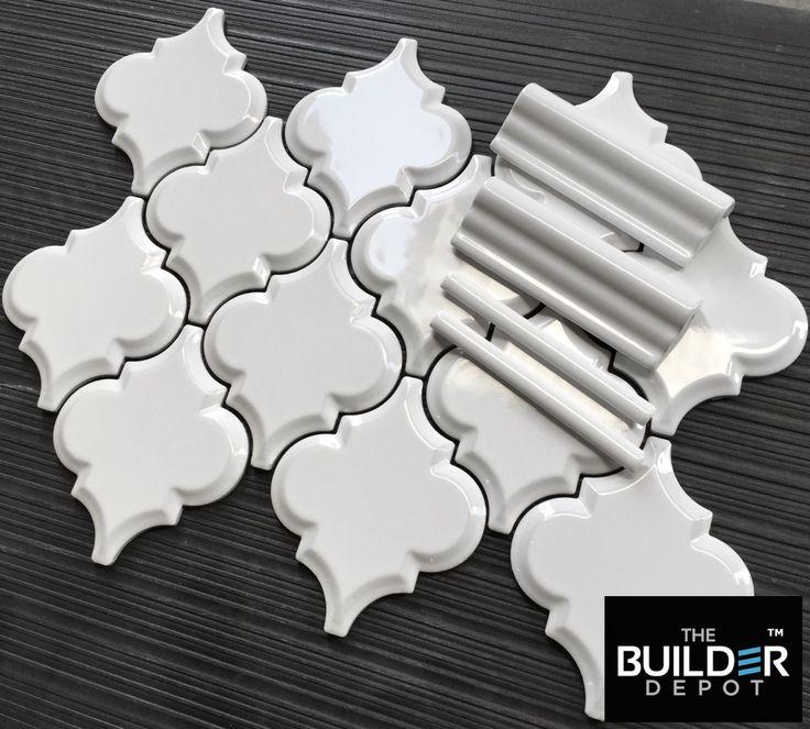 beveled whisper white arabesque tile just a square foot this tile with matching - Arabesque Tile Backsplash