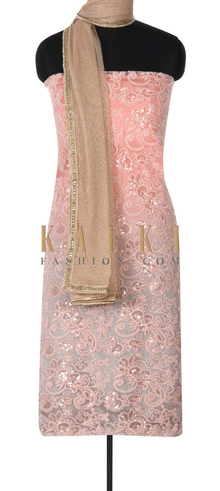 Buy this Pink unstitched suit adorn in resham and sequin work only on Kalki