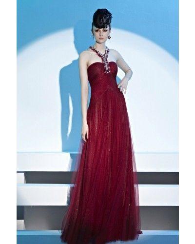 A-line Halter Floor-length Burgundy Prom Dress with Beading | LynnBridal.com