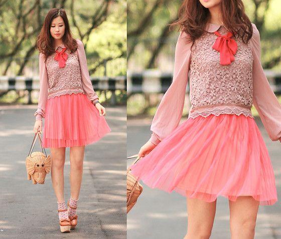 Neon preppy (by Mayo Wo) http://lookbook.nu/look/3256973-Sheinside-Chiffon-Crochet-Blouse-Gotta-Neon