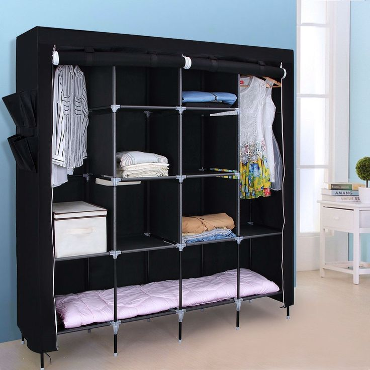 This Portable Bedroom Wardrobe Clothes Storage Closet helps store and organize your seasonal clothes more efficient than ever. Selected non-woven fabric makes the wardrobe breathable, dust proof and e