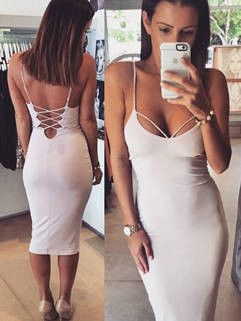 Spaghetti Straps Solid Backless Plunging Neck Bodycon Dress