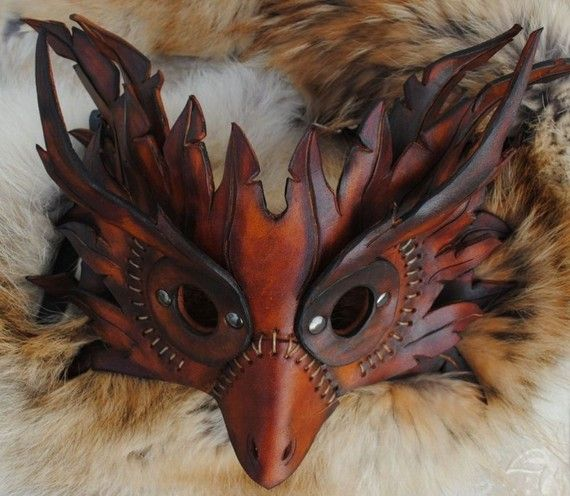 Spliced Owl Leather Mask - etsy.com