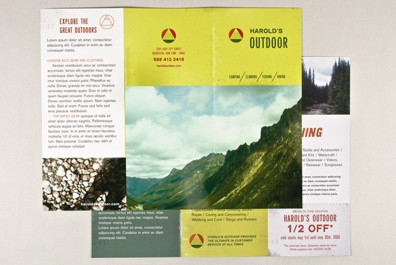 Sports And Outdoor Store Brochure. The Natural Imagery And