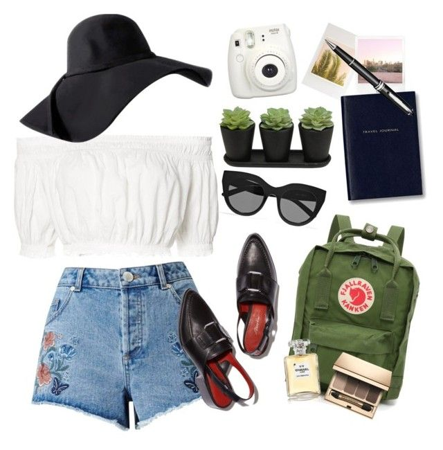 Street style: Summer in LA by srsstreetcouture on Polyvore featuring polyvore, Apiece Apart, Miss Selfridge, Fjällräven, Le Specs, Clarins, Chanel, Wilder California, Montblanc, Fujifilm, Smythson, Polaroid, fashion, style and clothing