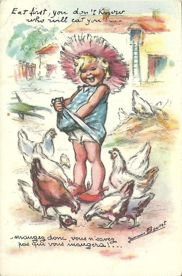 carte postale, illustration française, Germaine Bouret, enfant donnant à manger aux poules, volaille, 1950s, femme artiste
