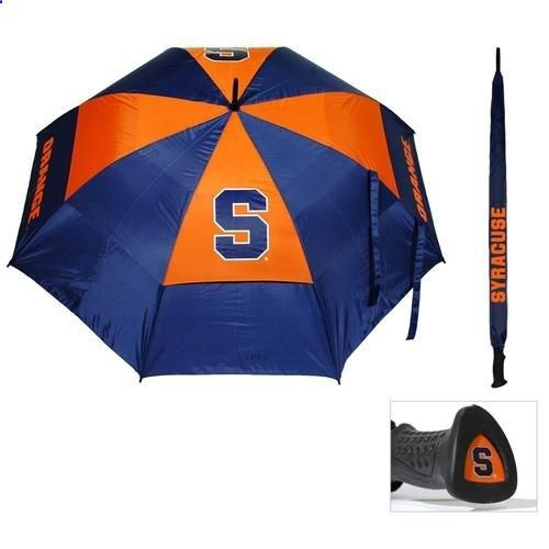 Syracuse Orangemen Golf Umbrella. This 62 personal umbrella includes the following: double canopy design, 4 location logo and printed sheath. Show your team spirit even on the rainy days! Go Orange!