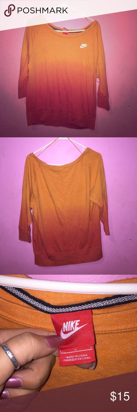 Nike 3/4 sleeve shirt Orange ombré shirt Nike Tops Tees - Short Sleeve