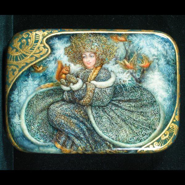 Snowmaiden Russian Lacquer Box Artist: Oleg Shapkin Origin: Fedoskino, Russia