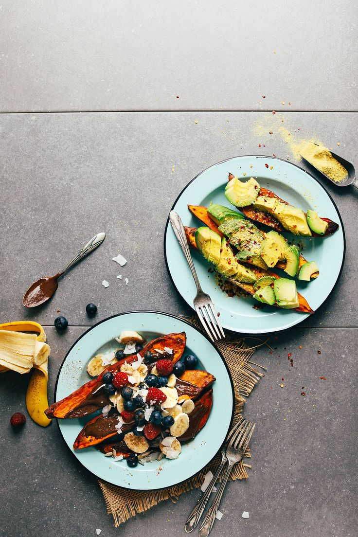 Baked Sweet Potatoes 2 Ways! Savory and sweet in just 30 minutes //minimalist baker