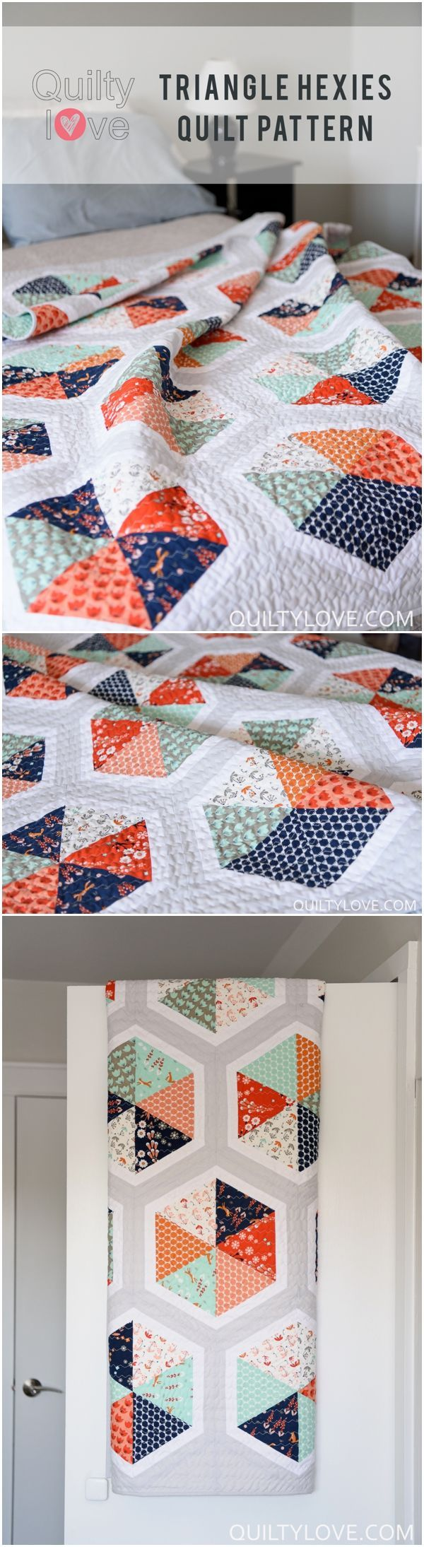 """Click on through to see more photos of Quilty Love's newest quilt pattern Triangle Hexie Quilt. This modern quilt is made using Cloud 9 Fabrics newest line FoxGlove. <a href=""""http://www.quiltylove.com"""" rel=""""nofollow"""" target=""""_blank"""">www.quiltylove.com</a>"""