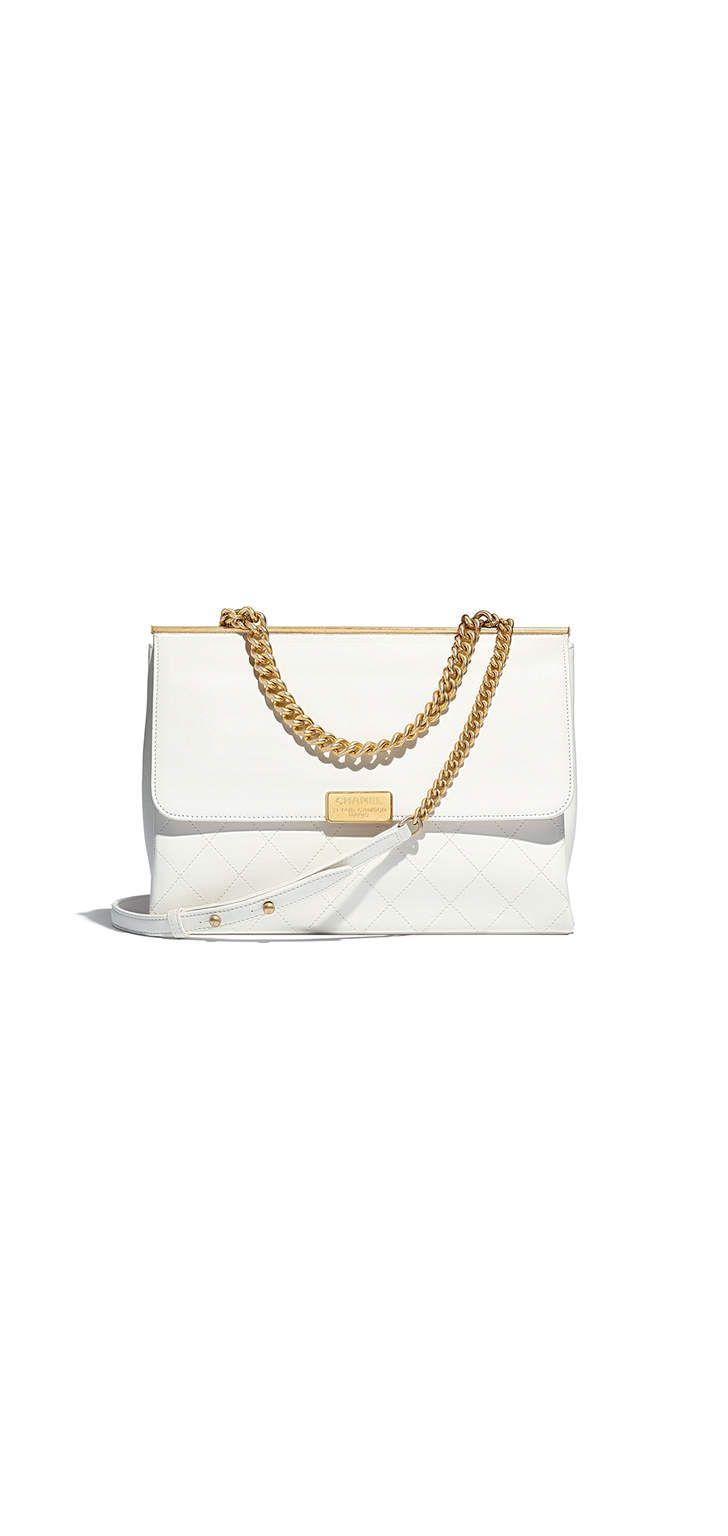 f2f34fb97 Bolsa, couro de cordeiro & metal dourado-branco - CHANEL | Chanel Bolsas