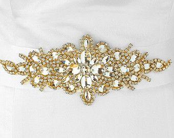 Fascia nuziale di cristallo oro con nastro bianco strass nuziale Sash, nozze cintura, fascia di nozze, accessori da sposa