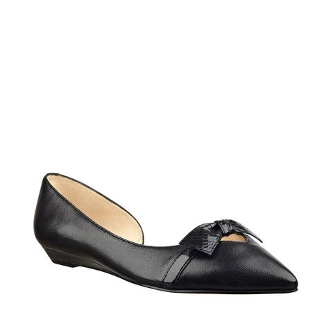 Nine West Pointed Toe Flat with Bow Detail