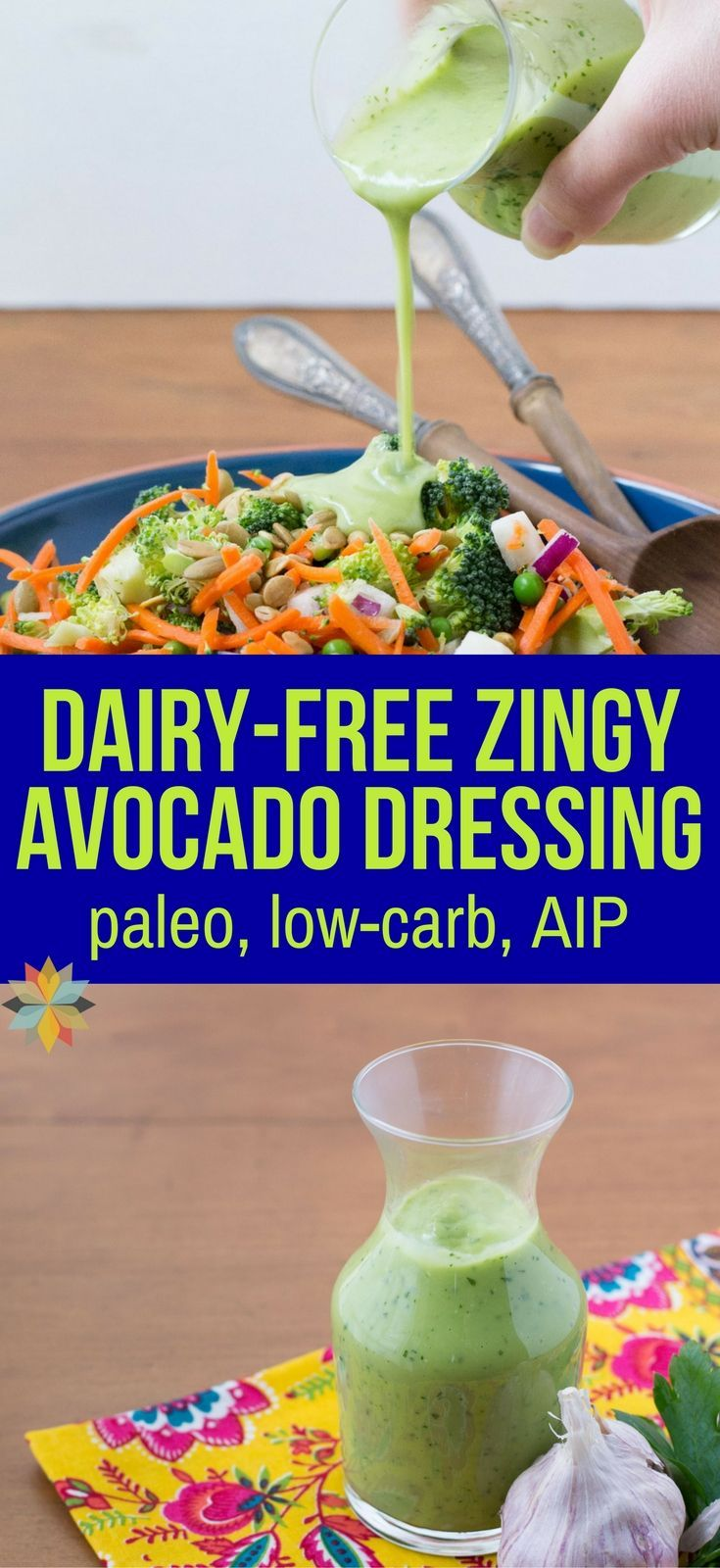 If you love avocados, you'll LOVE this Creamy Vegan Avocado Dressing Recipe - it's dairy-free, low carb, and AIP and makes a great dip too! via @wholenewmom