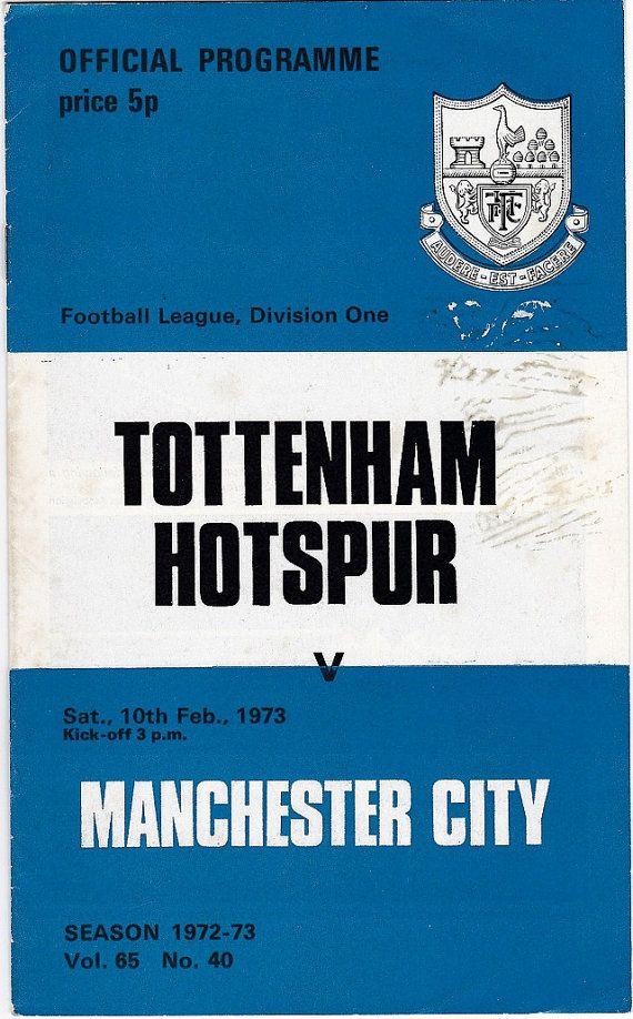 Vintage Football (soccer) Programme - Tottenham Hotspur v Manchester City, 1972/73 season #football #soccer #tottenham #spurs