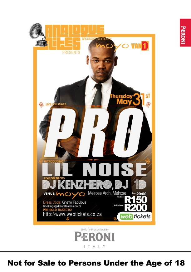 The flyer for the next installment of #ANALOGUENITES feat. Pro Dankie San on Thurs 31 May at moyo Melrose Arch. NOT TO BE MISSED!