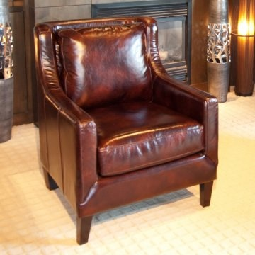 Elements Java Top Grain Leather Accent Chair - Saddle