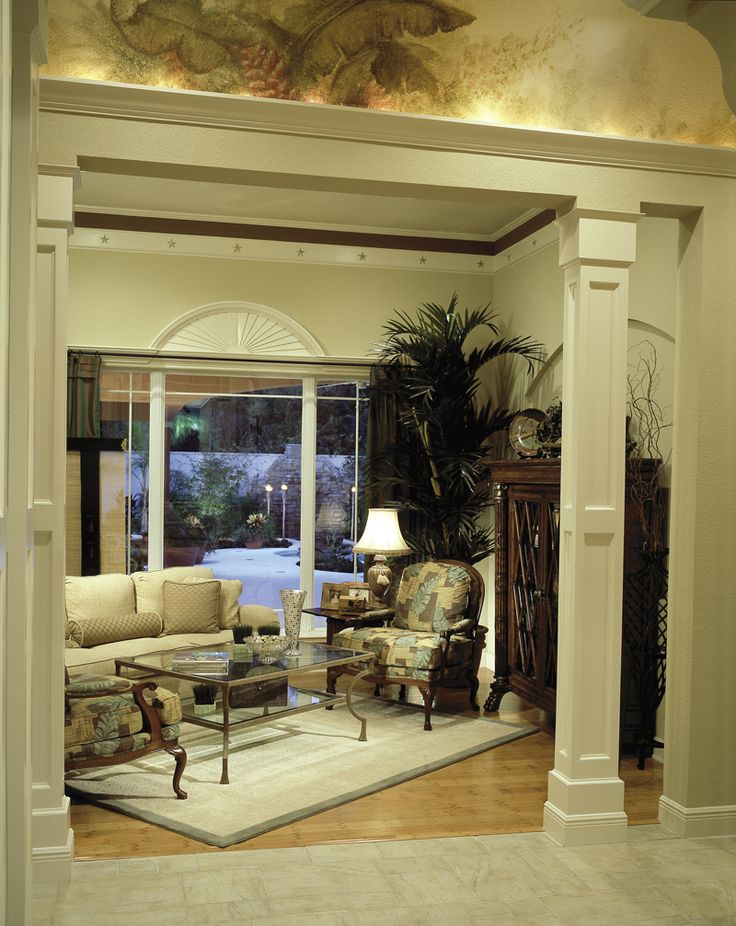 1000 images about house plans with great living areas on for Decorative wood columns interior