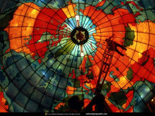 mapparium |   www.yournestdesign.blogspot.com: Stainedglass, Mapparium, Glasses, Maps, National Geographic, Art, Stained Glass