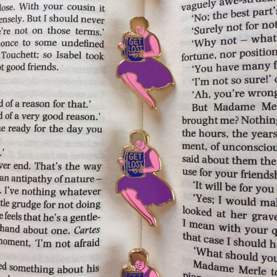 GET LOST (in a book) enamel pin / feminist badge