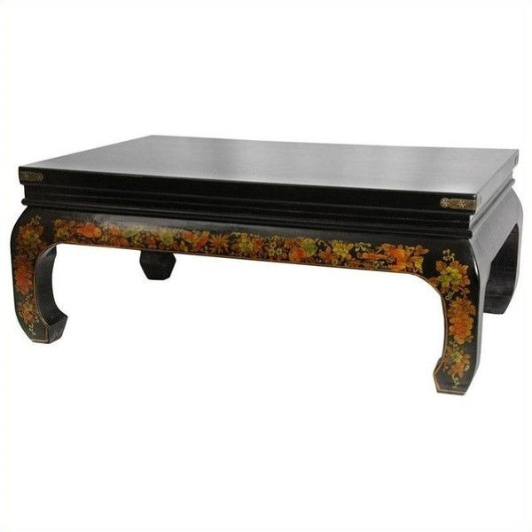 Oriental Furniture Peaceful Village Coffee Table ($839) ❤ liked on Polyvore featuring home, furniture, tables, accent tables, two toned, oriental coffee table, black gloss coffee table, oriental table, village furniture and asian furniture