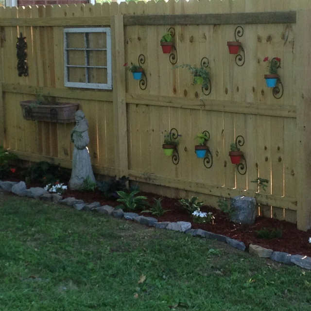 73 best Fence Decor images on Pinterest | Centerpiece ... on Backyard Wooden Fence Decorating Ideas id=96496