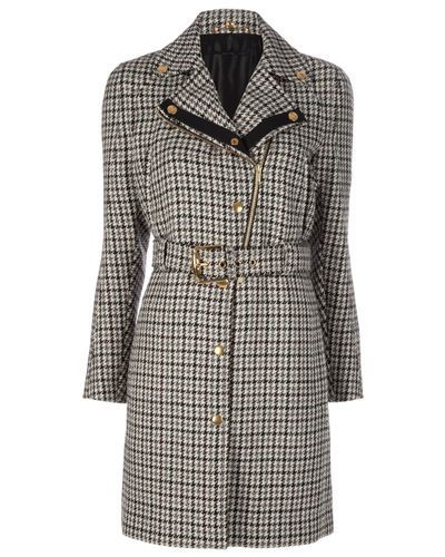 Gucci | Gray Houndstooth Coat | Lyst