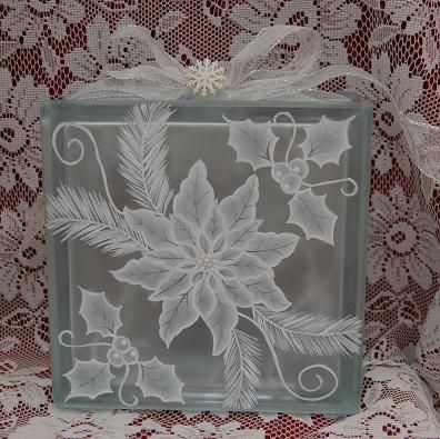 Monochromatic Pointsettia Glass Block