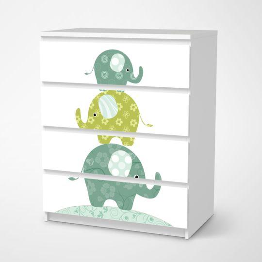 Folie für Möbel IKEA Malm Kommode 4 Schubladen – Design: Elephants